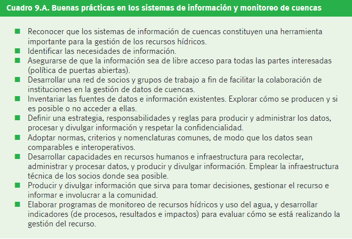 Figura 2. Buenas prácticas en los sistemas de información y monitoreo de cuencas.