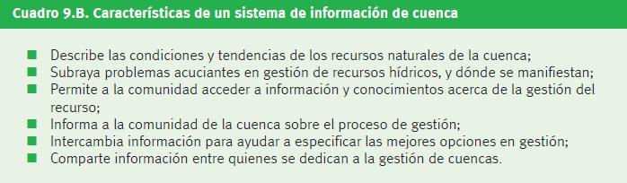 Figura 3. Características de un sistema de información de cuenca.