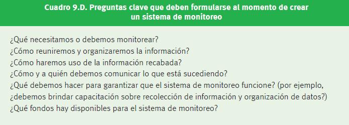 Figura 4. Preguntas clave que deben formularse al momento al momento de crear un sistema de monitoreo.