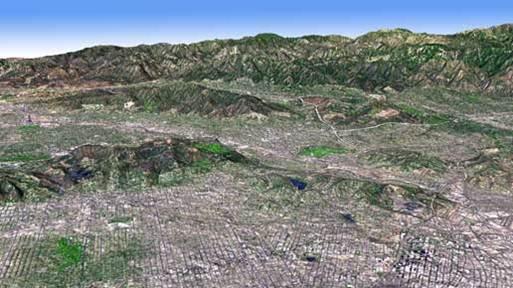 Imagen ASTER, con datos de altura ASTER GDEM. Los Ángeles.