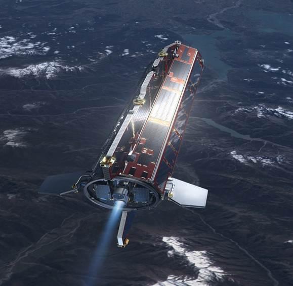 Imagen 1. Satélite GOCE; la fecha de lanzamiento se llevo acabo el día 17 de marzo de 2009 desde el Cosmódromo de Plesetsk, para el lanzamiento se empleó un cohete ruso de tipo Rokot, el lanzamiento estuvo a cargo de los servicio de lanzamiento Eurockot.