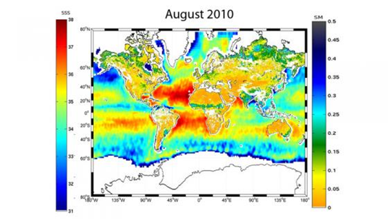 Figura 2. Mapa combinado de humedad y salinidad de agua superficial de los océanos proporcionado por el satélite SMOS.