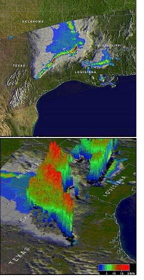 Imagen. TRMManalisa las precipitaciones. Pasó por encima de una zona, y capturó de los datosen la imagen mostrada arriba.