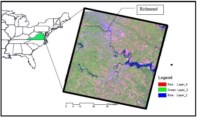 Figura 2. Imagen ASTER de la locación de Virginia (en verde).