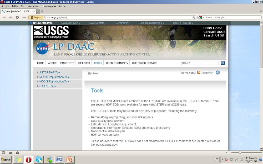 Figura 9. Página del USGS de descarga de Herramientas.