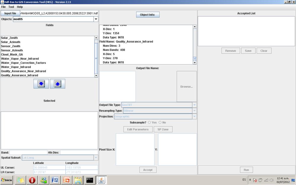 Figura 14. Datos de sobre las características del archivo HDF.