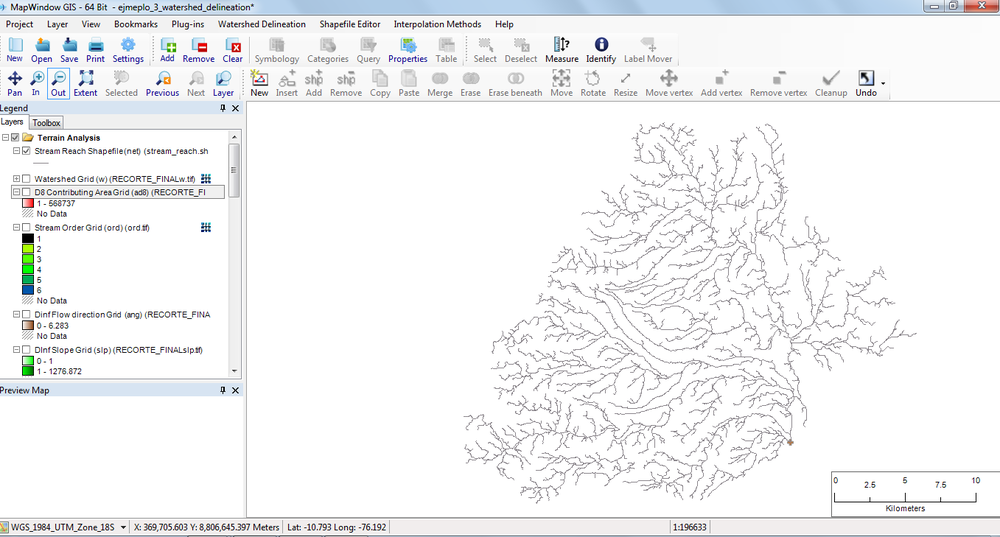 Figura 33.  Stream Reach Shapefile.