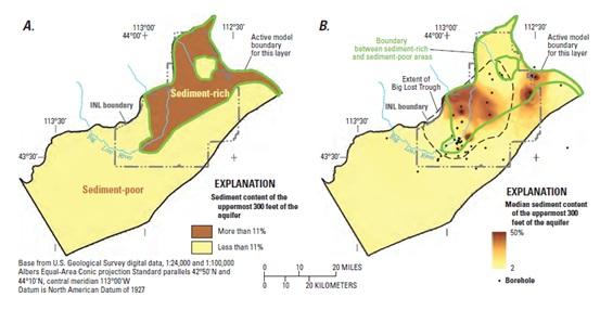 """Fig.2: La figure """"A"""" es un mapa que muestra las áreas con más del 11 % de contenido de sedimento y con menos del 11 % de contenido de sedimento. La figure """"B"""" es un mapa que muestra el contenido de sedimento medio. Ambos mapas usan los 300 pies superiores del acuífero. [3]"""