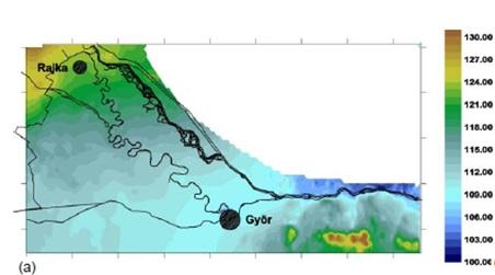 Fig.3: Mapa de los valores medios del nivel del agua subterránea para el periodo de tres años de 1987-1989 [5]