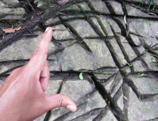 Figura N° 3. Las diaclasas en una roca ígnea plutónica representarían la porosidad secundaria en Amazonas (Fuente: Gidahatari).