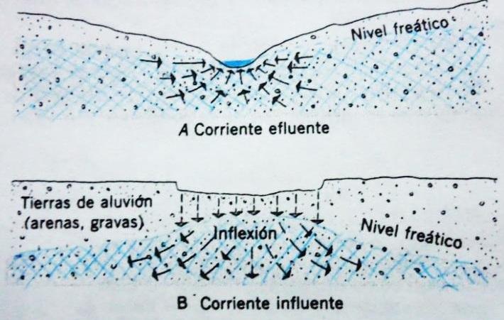 Figura N° 4.Corrientes efluentes e influentes. (Dibujo procedente de A.N. Strahler, TheEarthSciences, 2da Edición, 1971).