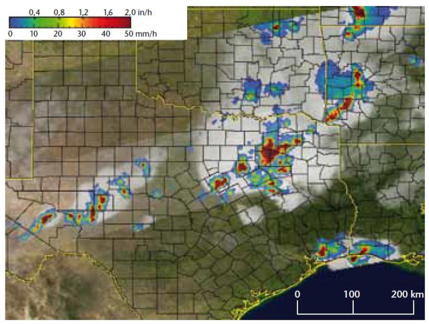 Figura N° 2. Lluvia intensa sobre Texas, obtenida del generador de imágenes por microondas y del radar de precipitación instalados en el satélite TRMM a las 4:39 horas del 1 de mayo de 2004. Fuente: World Hidrological Cycle Observing System.