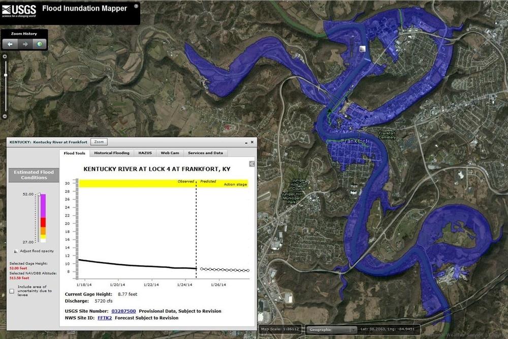Una gestión de inundaciones disminuirá la vulnerabilidad de las poblaciones. Fuente: USGS Kentucjy Water Resources Program