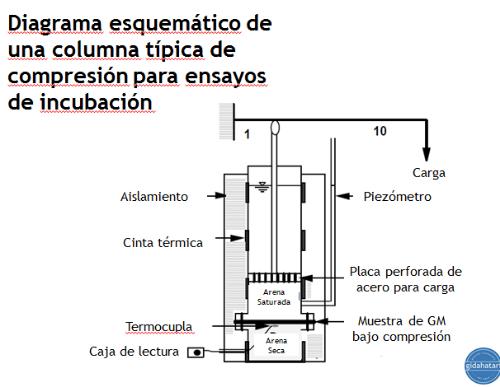 Figura 9. Esquema típico de una columna de compresión para ensayos de incubación.