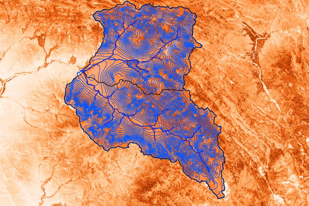 Interpretación de la napa freática con fondo de indices de vegetación. Datos procesados en QGIS.