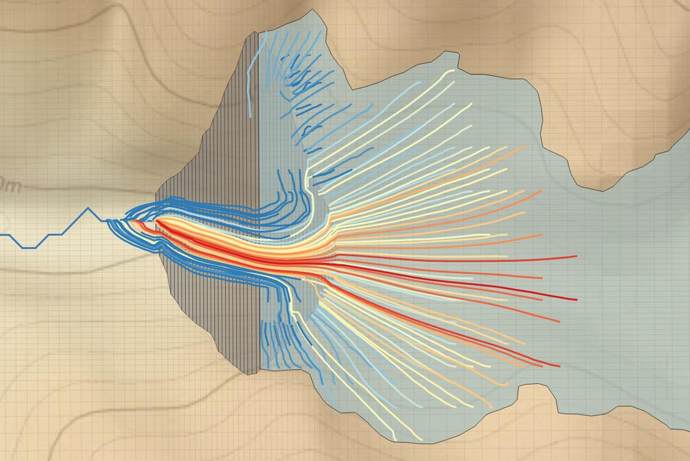 Líneas de flujo provenientes del relaves y zona de descarga en curso de río. Modelo realizado con MODFLOW y MODPATH.