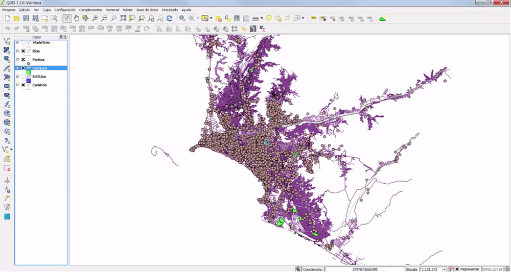 Visualización de la interfase de QGIS