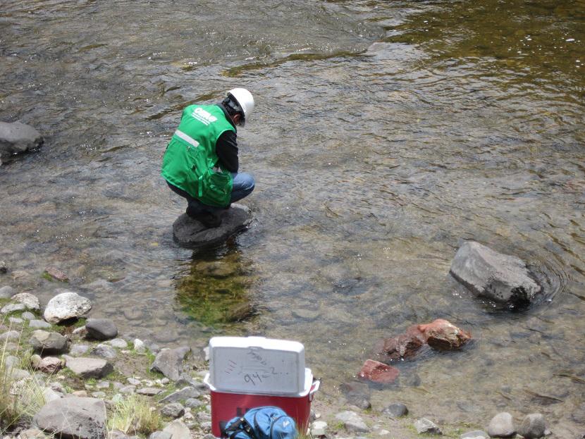 Personal técnico del OEFA en Puno tomó muestras de agua en los ríos donde se reportaron peces muertos.