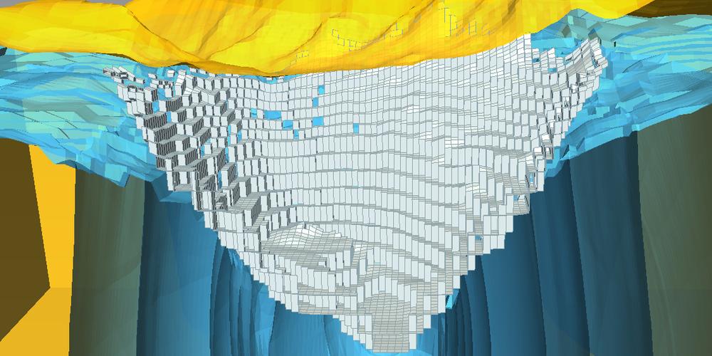Modelo de Drenaje de Tajo hecho en MODFLOW y visualizado en ParaView