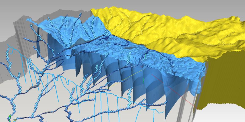 Visualización de un modelo hidrogeológico de una cuenca andina en MODFLOW.