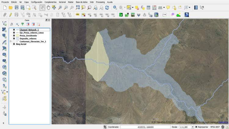 Imagen de Bing Aerial sobre una cuenca andina.