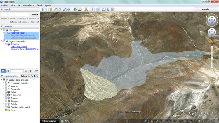 Vista de los objetos espaciales de QGIS sobre Google Earth