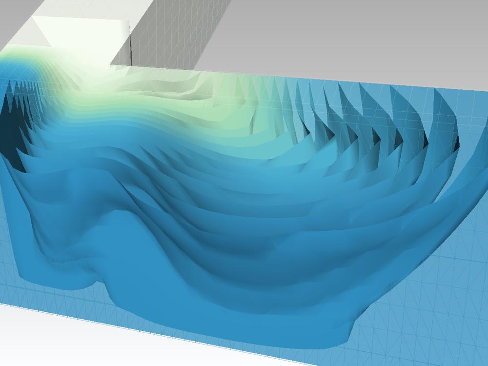 Modelamiento de la mezca de un efluente con el curso principal con OpenFOAM