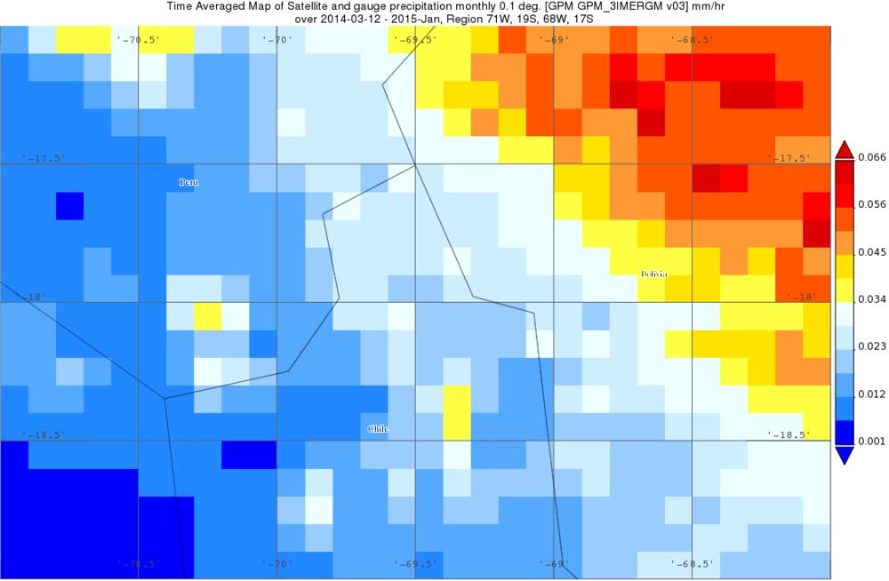 Imagen de datos de precipitación mensual promedioIMERG desde Marzo2014 a Enero 2015 descargado de Nasa Giovanni