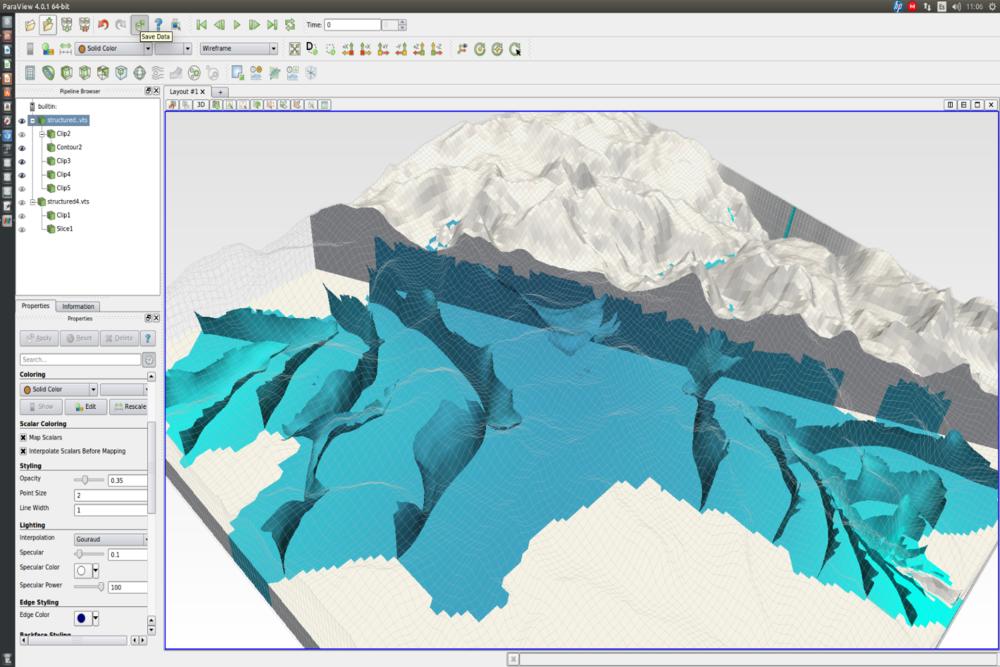 Representación en Paraview del modelamiento de una cuenca andina con MODFLOW