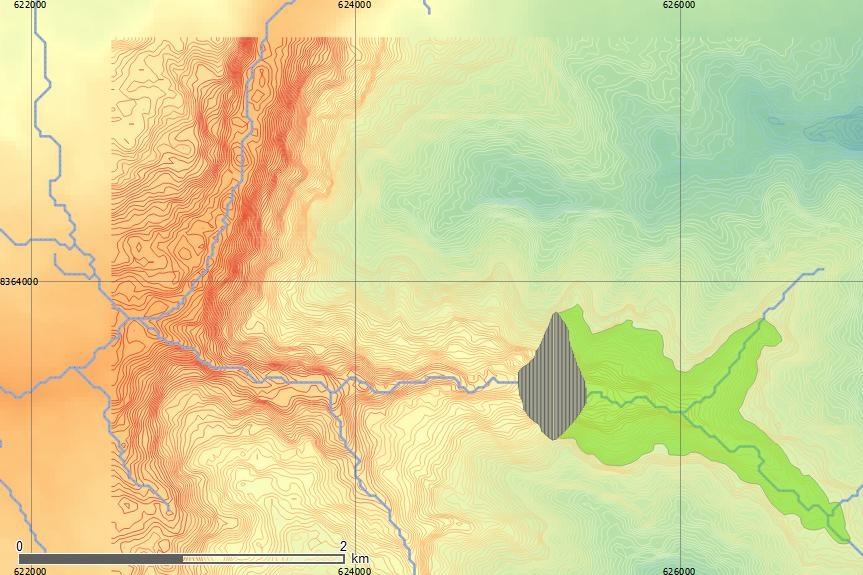 Interfase de QGIS con datos para una cuenca andina