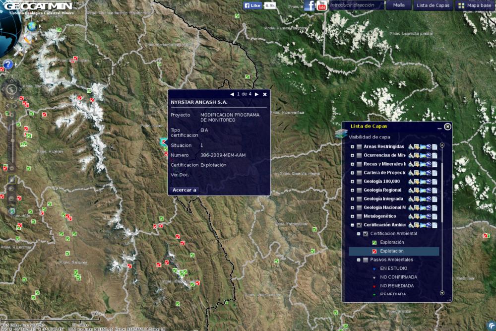 Visualización del servidor Geocatmin con los datos de certificación ambiental
