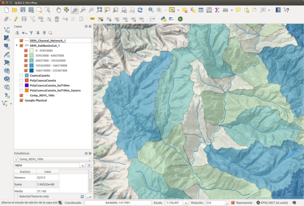 Interfase de QGIS 2.10 con datos para una cuenca andina