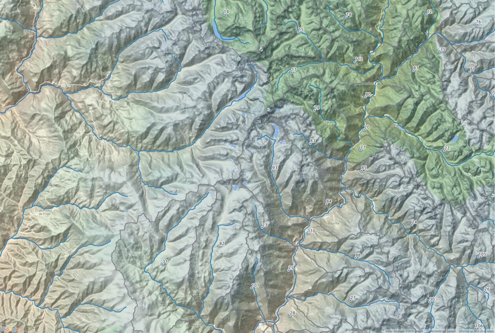 Interpretación de red hídrica y subcuencas. Datos procesados en QGIS y SAGA GIS