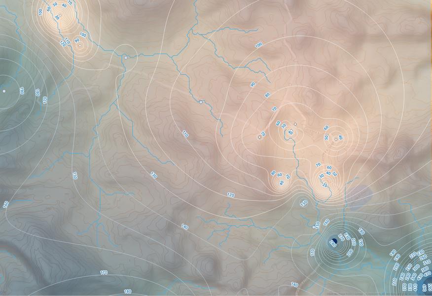 Interpolación y representación de datos de alcalinidad de aguas subterráneas.