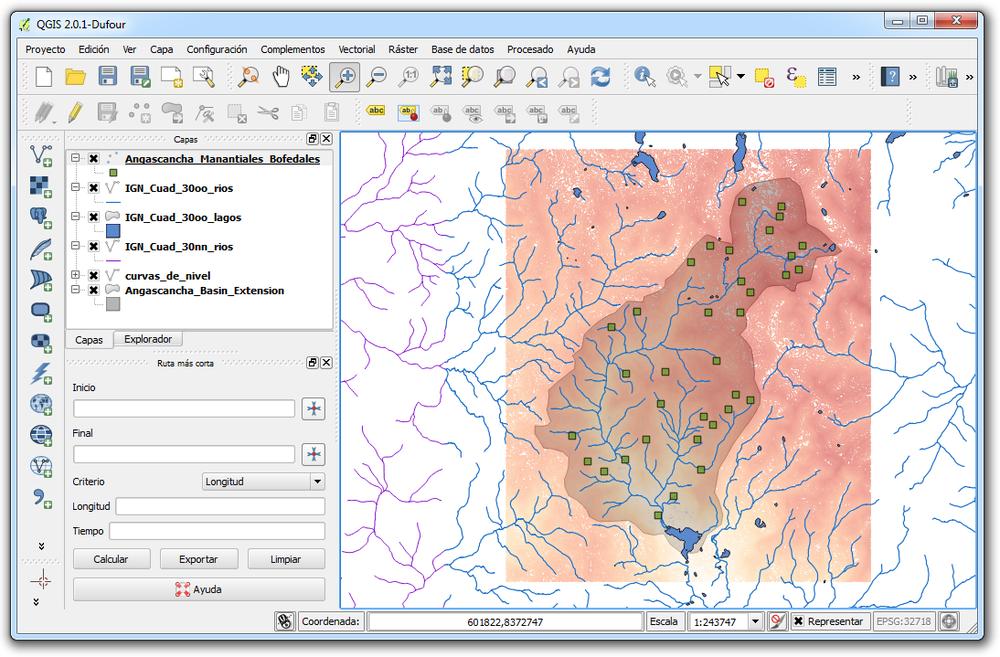 Datos de elevación y calidad de agua en QGIS