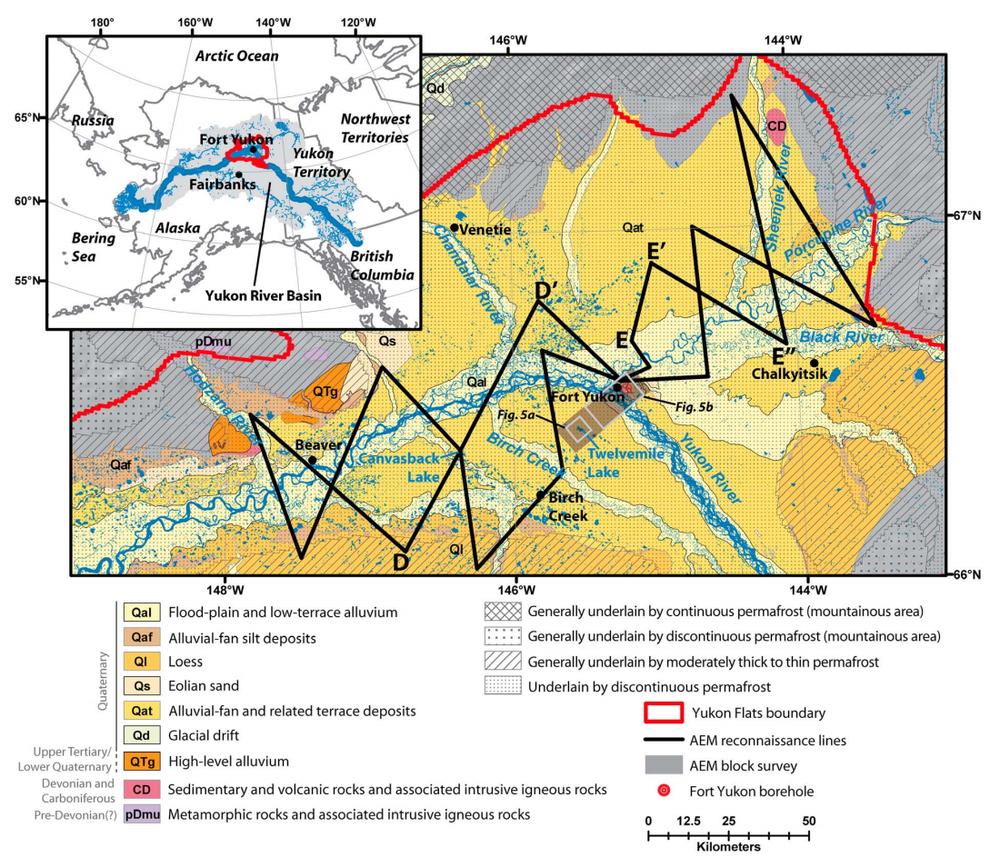 Fig. 1: Ubicación de la cuenca del río Yukon, área de estudio, cuerpos de agua, geología superficial y características generales de permafrost.