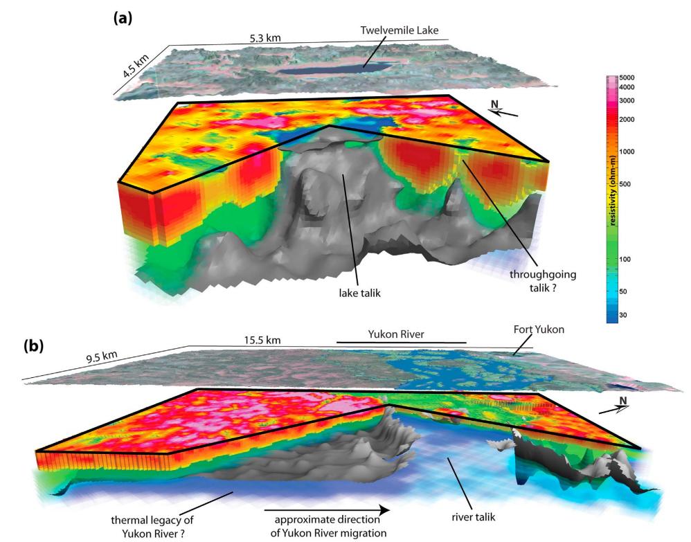 Fig. 5: Corte tridimensional del modelo de resistividad. Las isosuperficies grises muestran la interpretación de la base del permafrost.