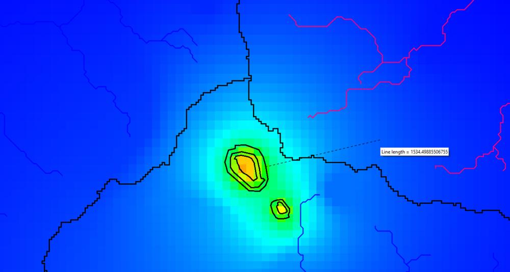 Extensión del Cono de Depresión para un Tajo de 19 años. El alcance del cono de depresión es de 1514 m.