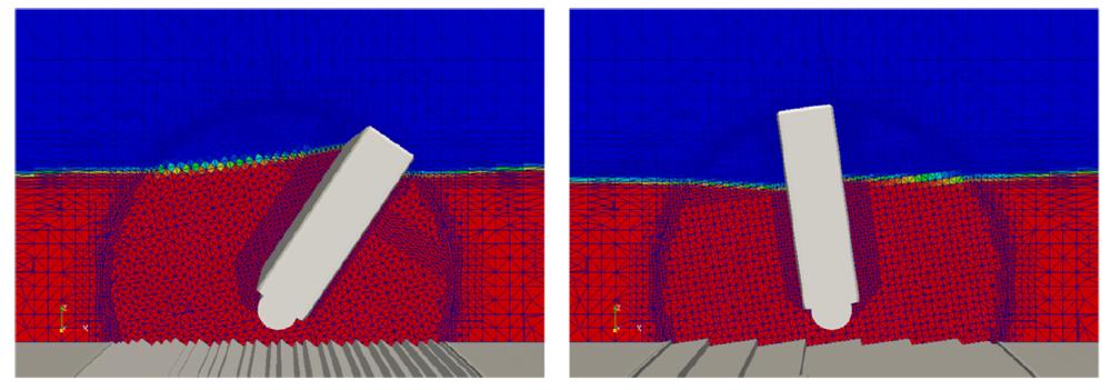 Fig, 2: Visualización del dispositivo, superficie de agua y el parámetro de disipación representando el fondo marino.