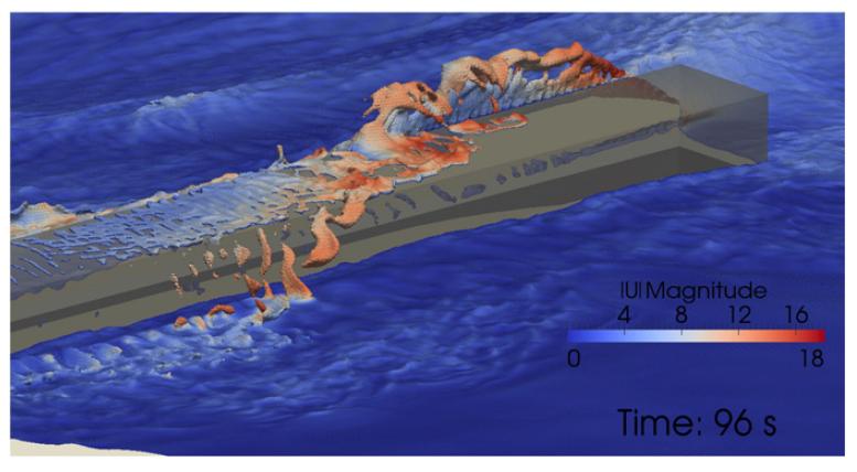 Fig. 12: Impacto crítico de ola sobre un caisson.