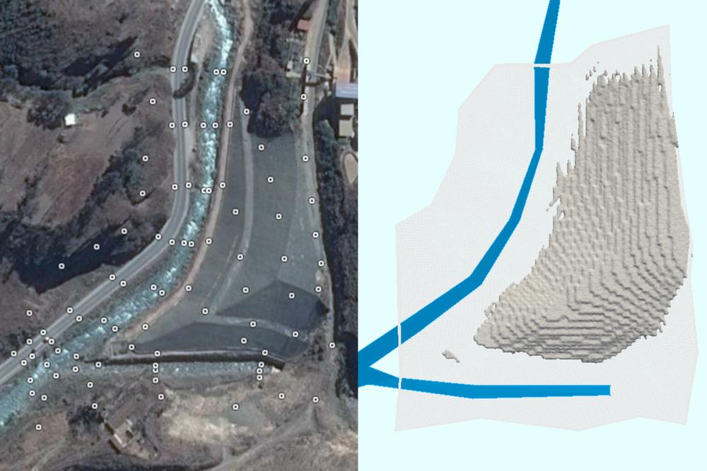 Vista aérea del Reservorio de Relaves Tamboraque (izq.) y representación de la geometría en OpenFOAM