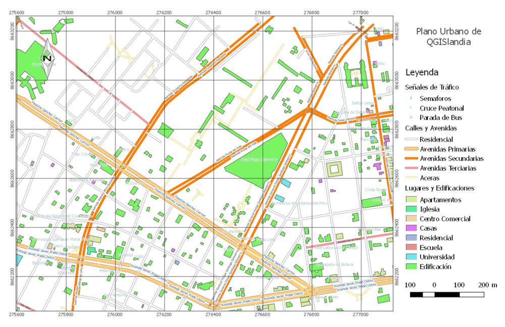Plano urbano generado en QGIS