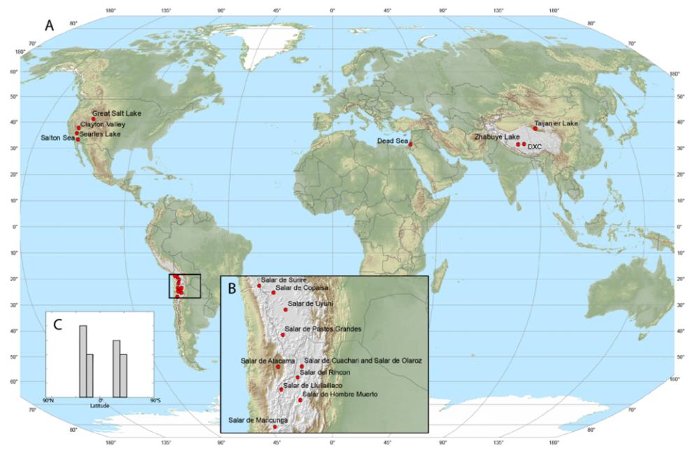 Figura 3. A. Mapa de los depósitos mundiales de Salmuera de Litio. B. Detalle en Sudamérica. C. Histograma mostrando la distribución bimodal latitudinal de los depósitos en los cinturones norte y sur.