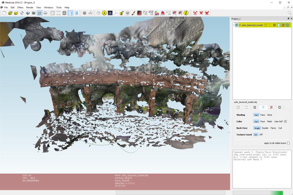 Interfase de Meshlab con el modelo texturado.