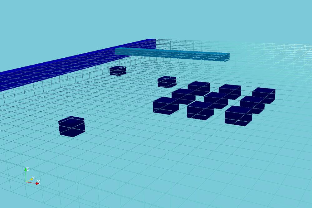 Vista Isométrica de las Cargas Constantes, Drenes y Pozos ubicados en distintas capas