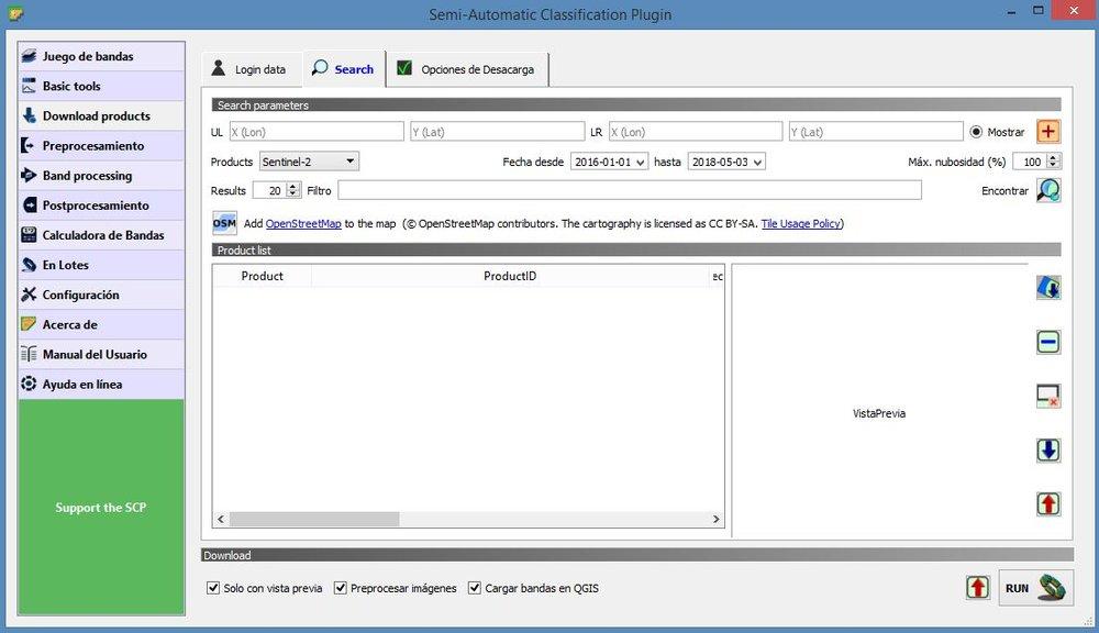 Interfaz del plugin Semi-Automatic Classification (Versión 6) compatible con QGIS 3