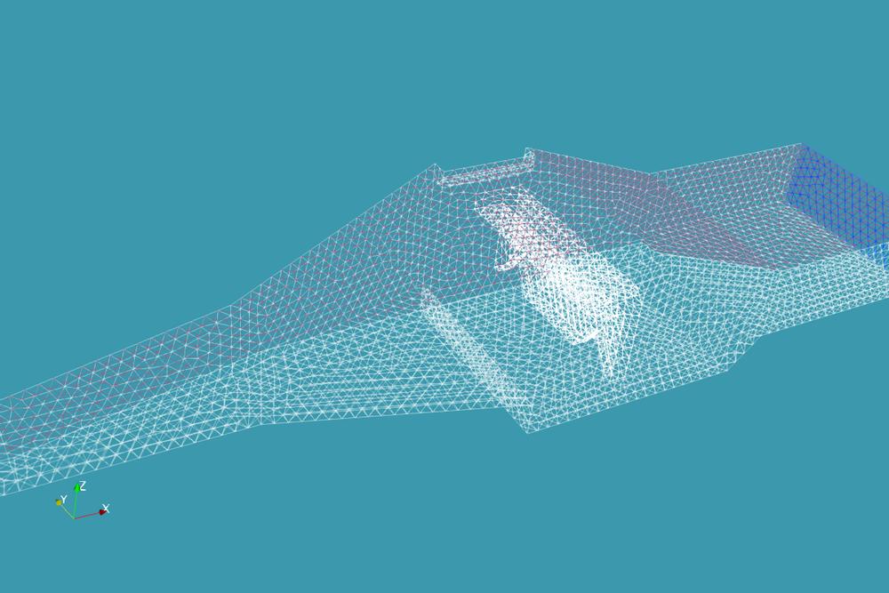 Malla tetrahedrica realizada en Salome Platform e importada a OpenFOAM