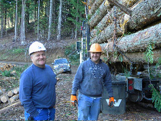 Bob Danielson and his nephew Matt Danielson, who drives logging truck for Danielson Logging
