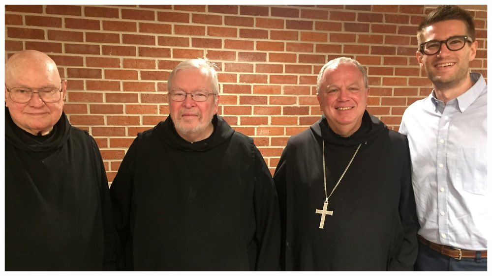 Fr. Raphael, Fr. Kavanaugh, Abbot Justin Brown, director, David Michael Warren