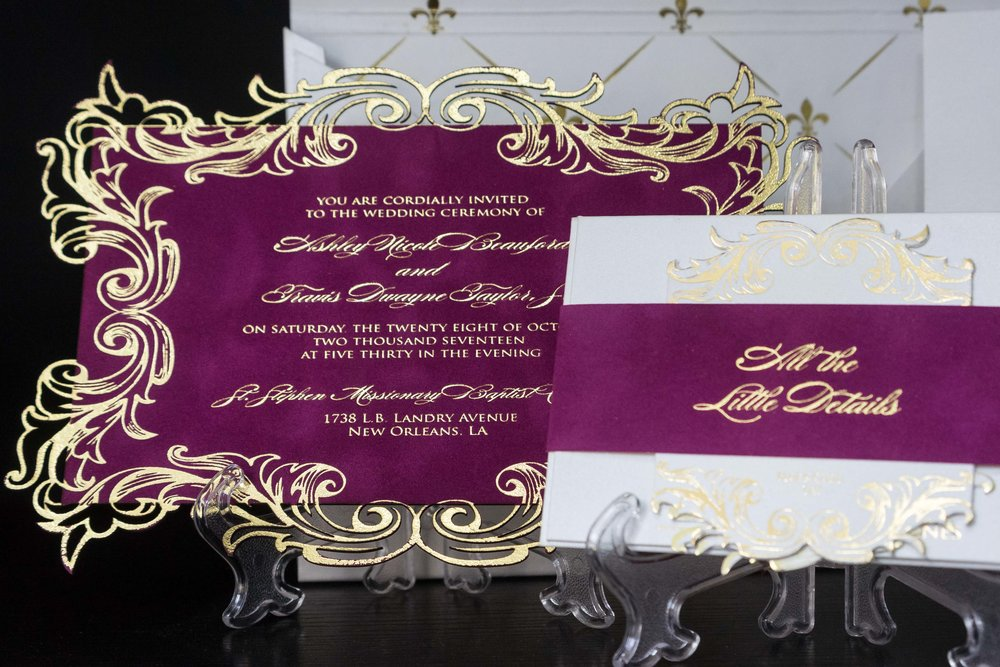 Gold Foil and Fuschia Flock/Velvet Invitation Displayed at our Lagos Showroom